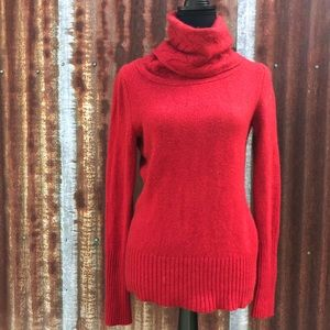 100% cashmere red turtle neck sweater